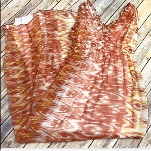 Joie Orange Ikat Silk Chiffon Maxi S